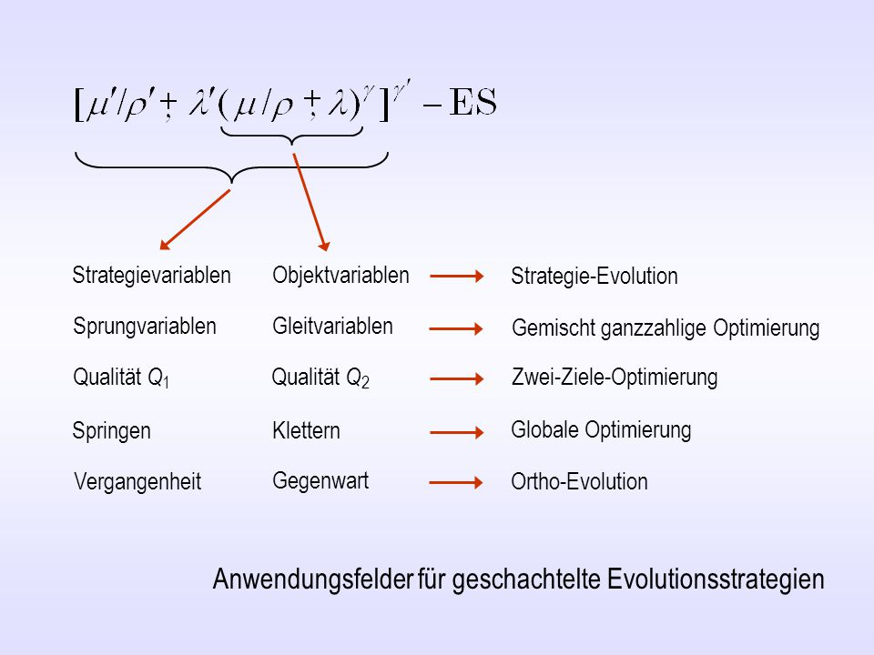 Strategievariablen Objektvariablen Strategie-Evolution Anwendungsfelder für geschachtelte Evolutionsstrategien