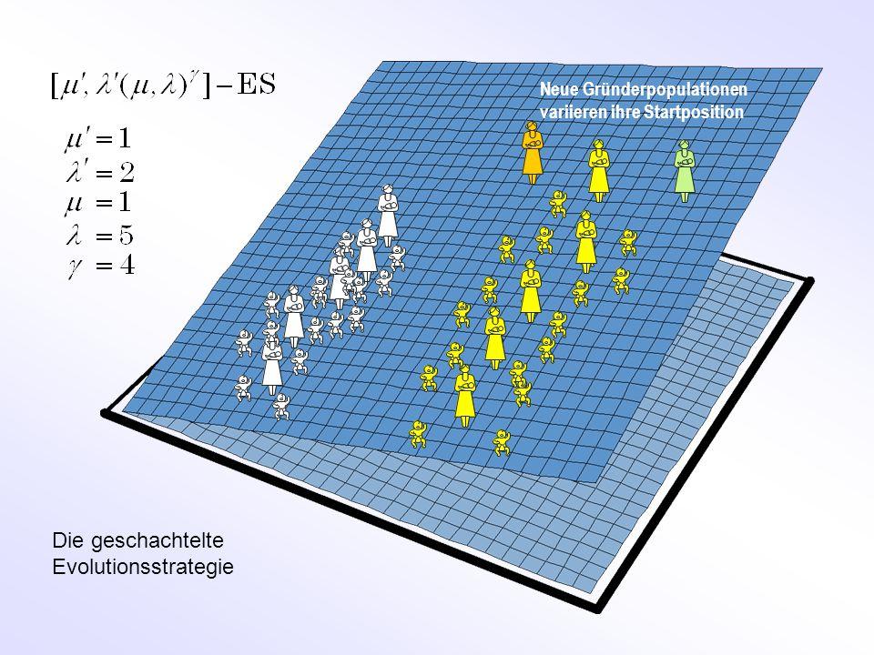 Neue Gründerpopulationen variieren ihre Startposition Die geschachtelte Evolutionsstrategie