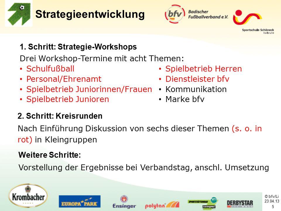 © bfv/Li 23.04.13 5 1. Schritt: Strategie-Workshops Drei Workshop-Termine mit acht Themen: Strategieentwicklung Schulfußball Personal/Ehrenamt Spielbe