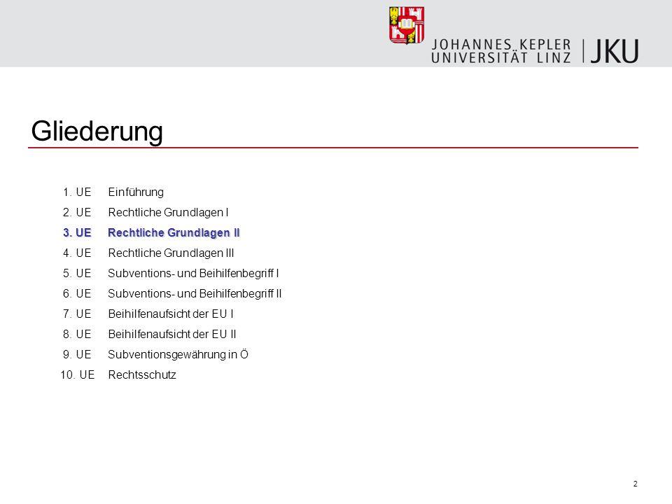 2 Gliederung 1.UEEinführung 2. UERechtliche Grundlagen I 3.