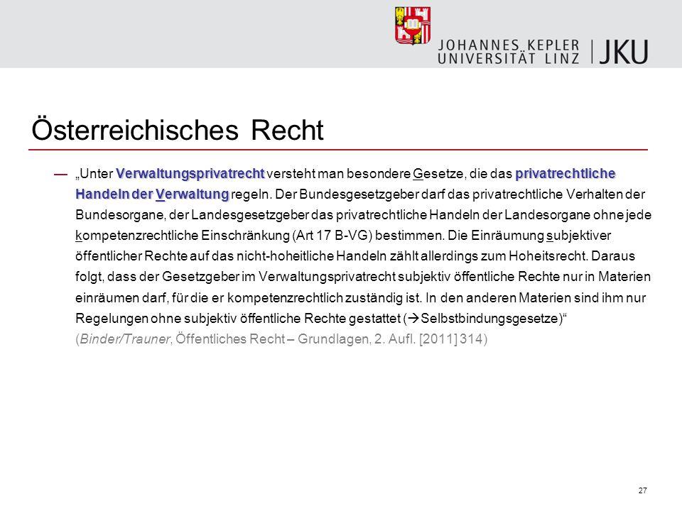 """27 Österreichisches Recht Verwaltungsprivatrechtprivatrechtliche Handeln der Verwaltung —""""Unter Verwaltungsprivatrecht versteht man besondere Gesetze, die das privatrechtliche Handeln der Verwaltung regeln."""