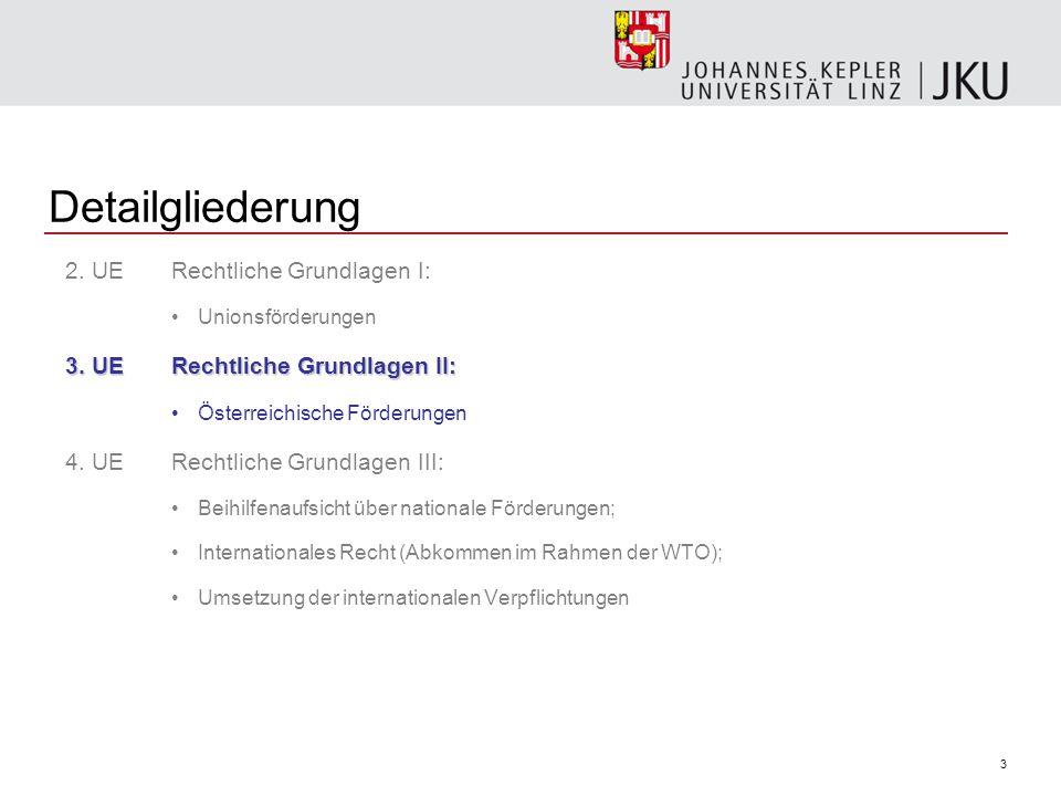 3 Detailgliederung 2.UE Rechtliche Grundlagen I: Unionsförderungen 3.