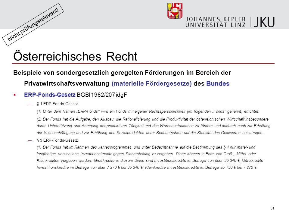 """31 Österreichisches Recht Bundes Beispiele von sondergesetzlich geregelten Förderungen im Bereich der Privatwirtschaftsverwaltung (materielle Fördergesetze) des Bundes  ERP-Fonds-Gesetz  ERP-Fonds-Gesetz BGBl 1962/207 idgF —§ 1 ERP-Fonds-Gesetz (1) Unter dem Namen """"ERP-Fonds wird ein Fonds mit eigener Rechtspersönlichkeit (im folgenden """"Fonds genannt) errichtet."""