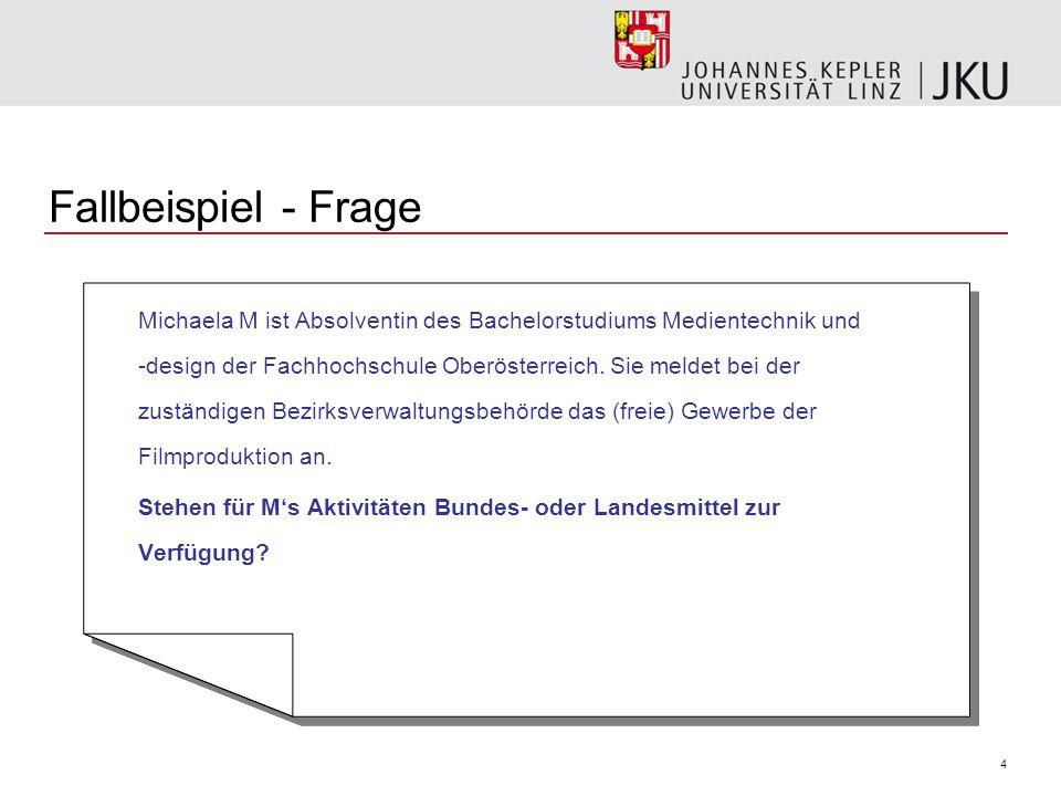 4 Fallbeispiel - Frage Michaela M ist Absolventin des Bachelorstudiums Medientechnik und -design der Fachhochschule Oberösterreich.
