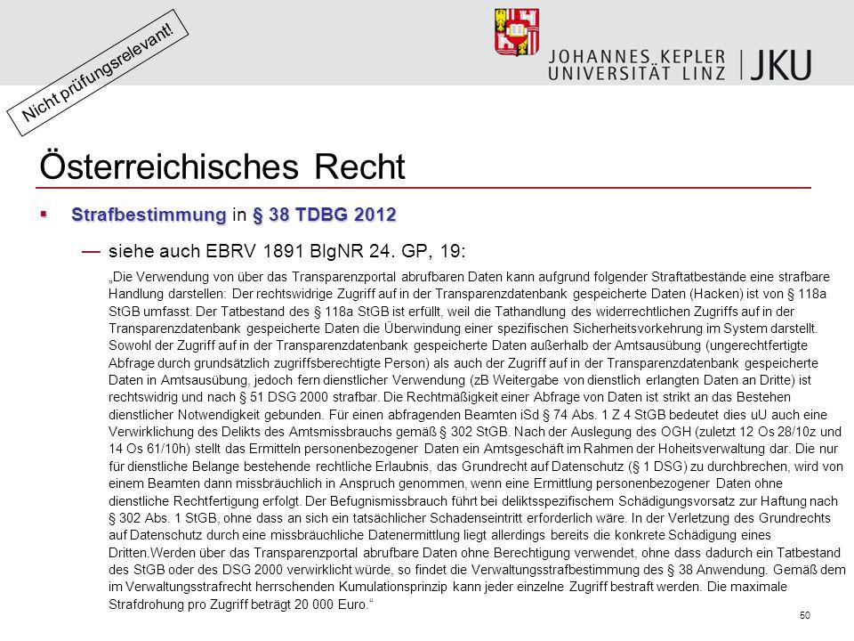 50 Österreichisches Recht  Strafbestimmung§ 38 TDBG 2012  Strafbestimmung in § 38 TDBG 2012 —siehe auch EBRV 1891 BlgNR 24.