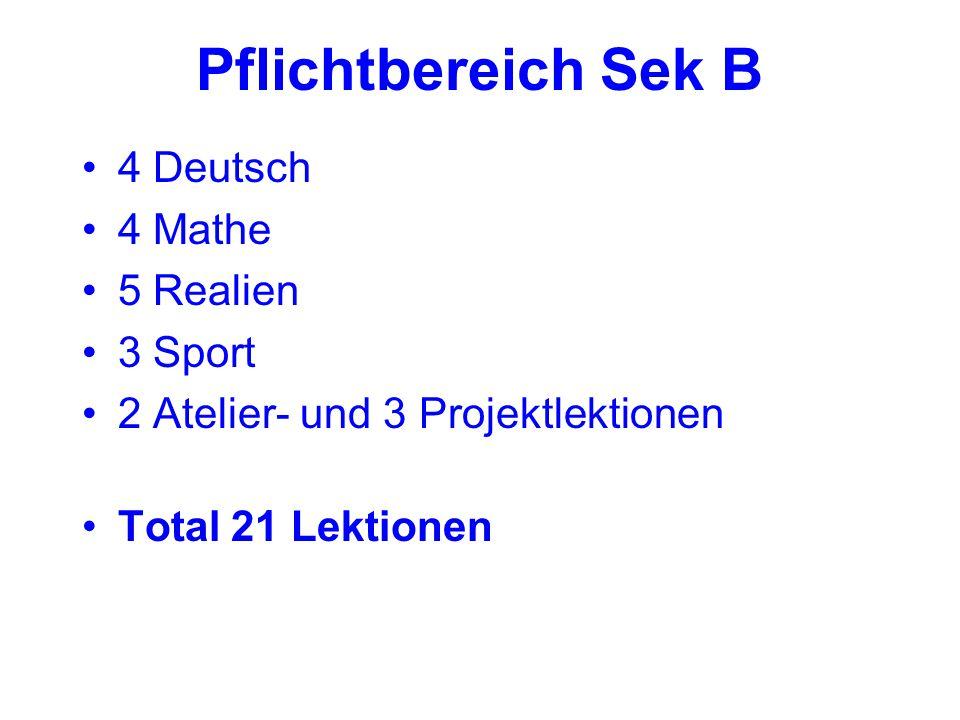 Pflichtbereich Sek B 4 Deutsch 4 Mathe 5 Realien 3 Sport 2 Atelier- und 3 Projektlektionen Total 21 Lektionen