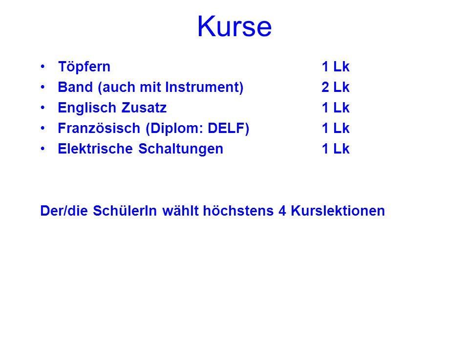 Kurse Töpfern1 Lk Band (auch mit Instrument)2 Lk Englisch Zusatz1 Lk Französisch (Diplom: DELF)1 Lk Elektrische Schaltungen1 Lk Der/die SchülerIn wählt höchstens 4 Kurslektionen