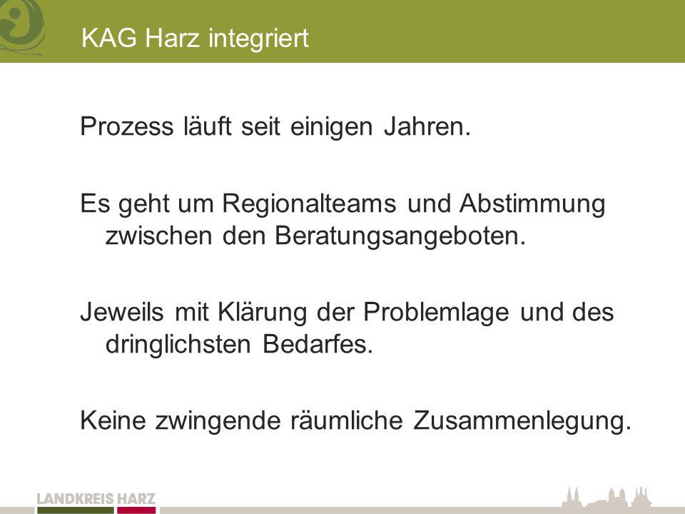 KAG Harz integriert Prozess läuft seit einigen Jahren.