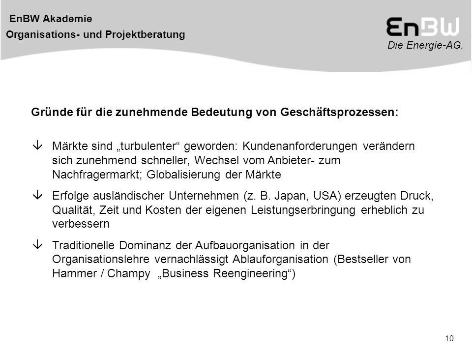 """Die Energie-AG. EnBW Akademie Organisations- und Projektberatung 10 Gründe für die zunehmende Bedeutung von Geschäftsprozessen:  Märkte sind """"turbule"""