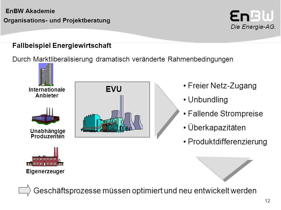 Die Energie-AG. EnBW Akademie Organisations- und Projektberatung 12 Unabhängige Produzenten Eigenerzeuger Internationale Anbieter Freier Netz-Zugang E