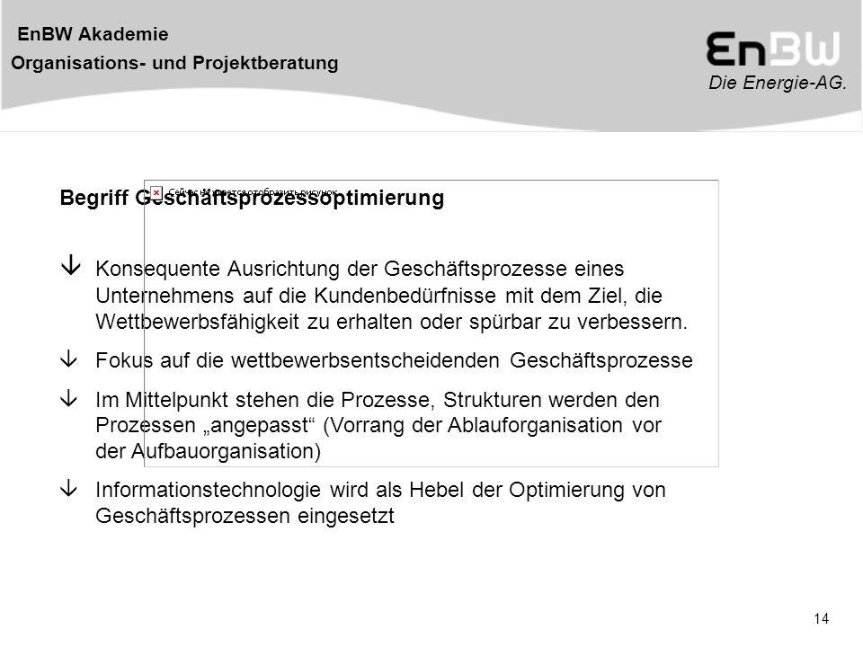 Die Energie-AG. EnBW Akademie Organisations- und Projektberatung 14 Begriff Geschäftsprozessoptimierung  Konsequente Ausrichtung der Geschäftsprozess