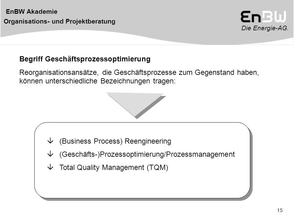 Die Energie-AG. EnBW Akademie Organisations- und Projektberatung 15 Begriff Geschäftsprozessoptimierung Reorganisationsansätze, die Geschäftsprozesse