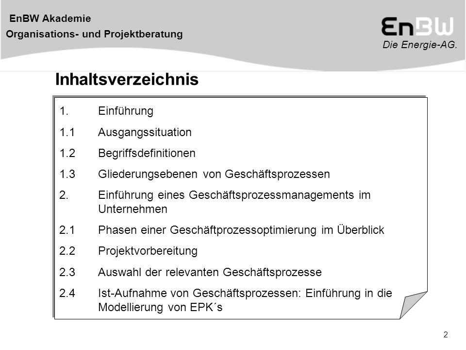 Die Energie-AG. EnBW Akademie Organisations- und Projektberatung 2 Inhaltsverzeichnis 1. Einführung 1.1 Ausgangssituation 1.2 Begriffsdefinitionen 1.3