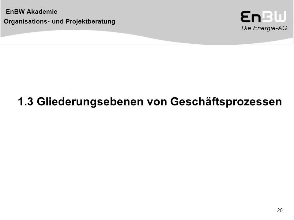 Die Energie-AG. EnBW Akademie Organisations- und Projektberatung 20 1.3 Gliederungsebenen von Geschäftsprozessen