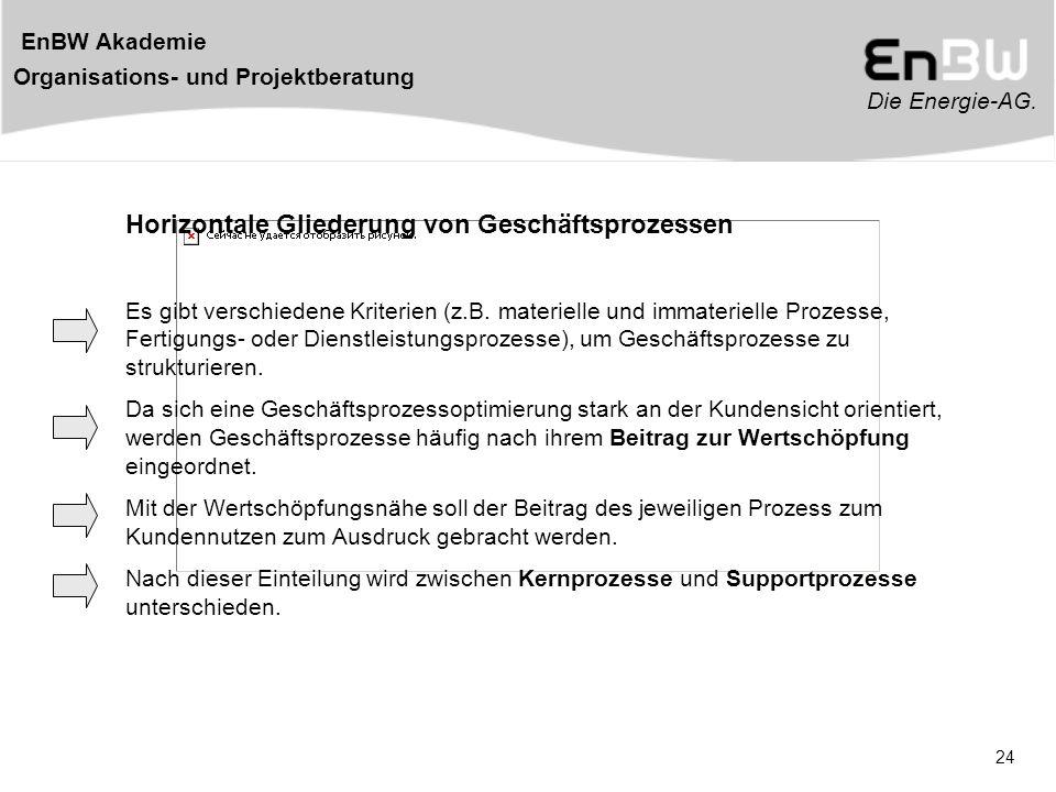 Die Energie-AG. EnBW Akademie Organisations- und Projektberatung 24 Horizontale Gliederung von Geschäftsprozessen Es gibt verschiedene Kriterien (z.B.