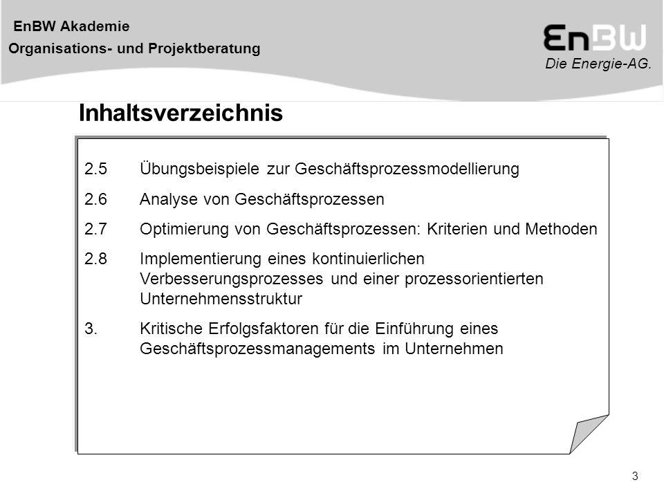 Die Energie-AG. EnBW Akademie Organisations- und Projektberatung 3 Inhaltsverzeichnis 2.5Übungsbeispiele zur Geschäftsprozessmodellierung 2.6Analyse v