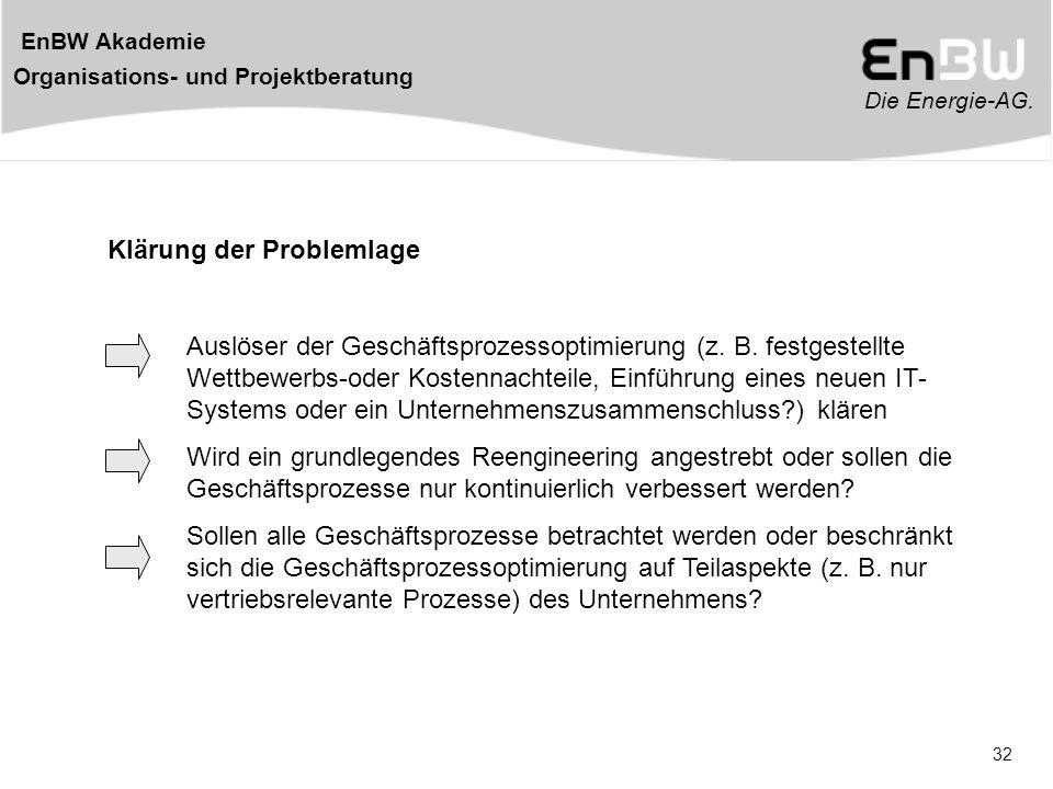Die Energie-AG. EnBW Akademie Organisations- und Projektberatung 32 Klärung der Problemlage Auslöser der Geschäftsprozessoptimierung (z. B. festgestel