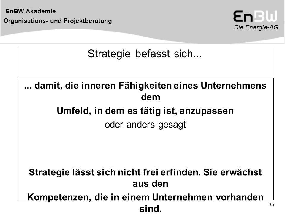 Die Energie-AG. EnBW Akademie Organisations- und Projektberatung 35 Strategie befasst sich...... damit, die inneren Fähigkeiten eines Unternehmens dem