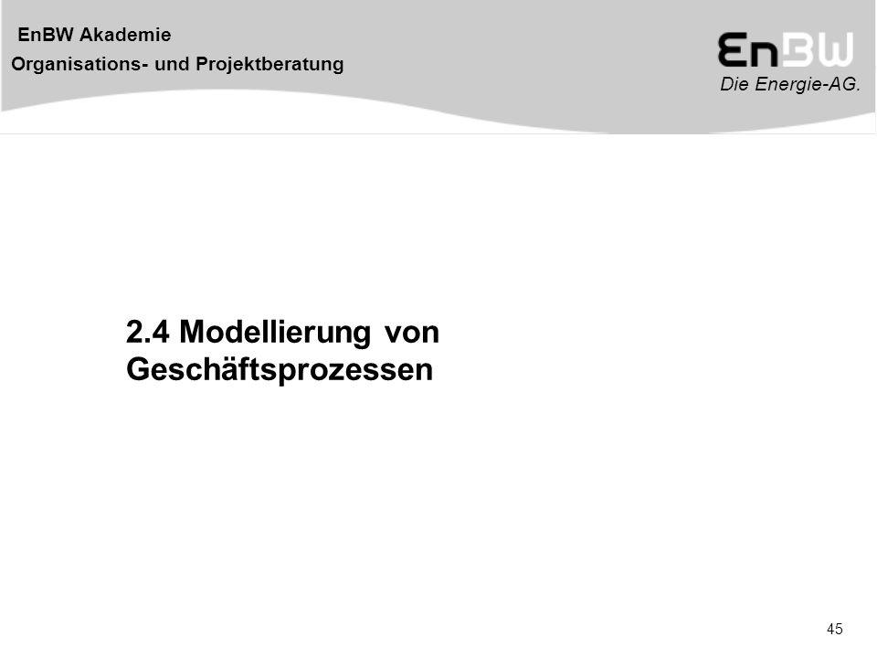 Die Energie-AG. EnBW Akademie Organisations- und Projektberatung 45 2.4 Modellierung von Geschäftsprozessen