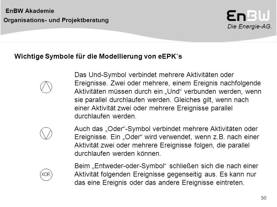 Die Energie-AG. EnBW Akademie Organisations- und Projektberatung 50 Wichtige Symbole für die Modellierung von eEPK´s Das Und-Symbol verbindet mehrere