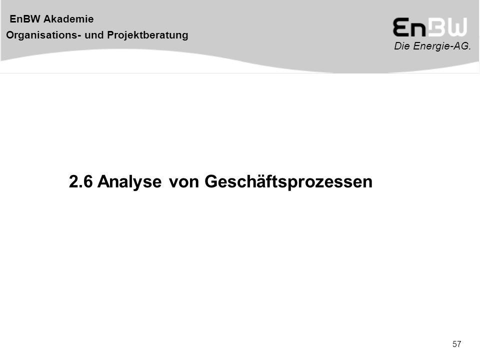 Die Energie-AG. EnBW Akademie Organisations- und Projektberatung 57 2.6 Analyse von Geschäftsprozessen