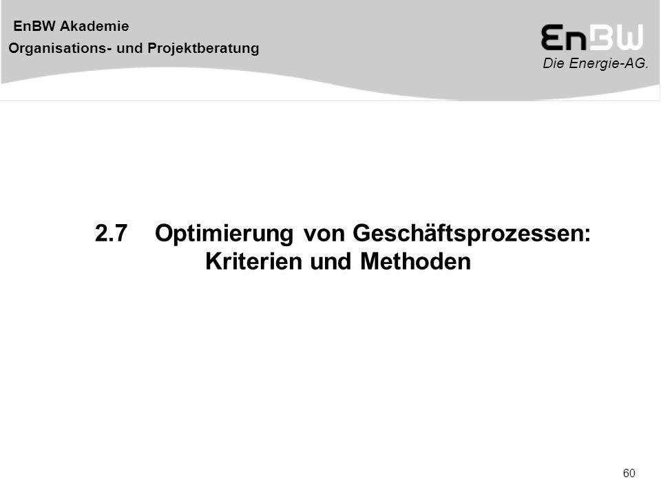 Die Energie-AG. EnBW Akademie Organisations- und Projektberatung 60 2.7 Optimierung von Geschäftsprozessen: Kriterien und Methoden