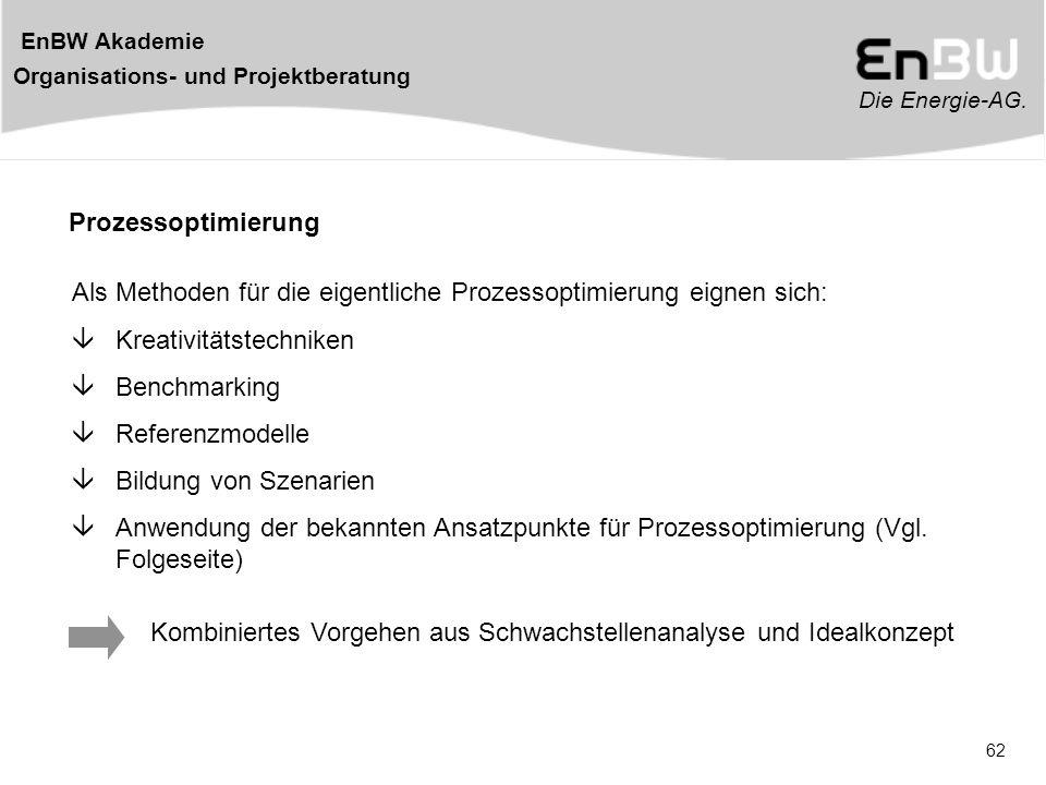Die Energie-AG. EnBW Akademie Organisations- und Projektberatung 62 Prozessoptimierung Als Methoden für die eigentliche Prozessoptimierung eignen sich