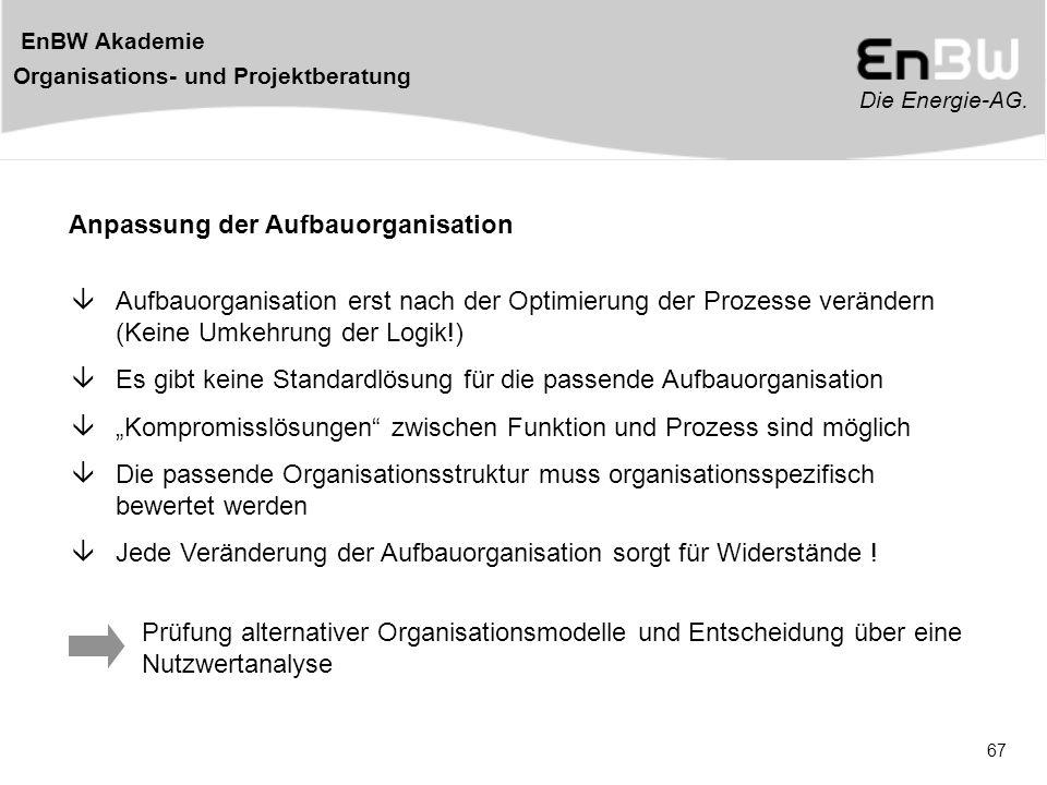 Die Energie-AG. EnBW Akademie Organisations- und Projektberatung 67 Prüfung alternativer Organisationsmodelle und Entscheidung über eine Nutzwertanaly