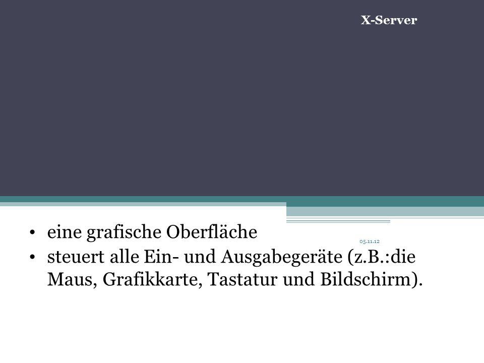 05.11.12 eine grafische Oberfläche steuert alle Ein- und Ausgabegeräte (z.B.:die Maus, Grafikkarte, Tastatur und Bildschirm).