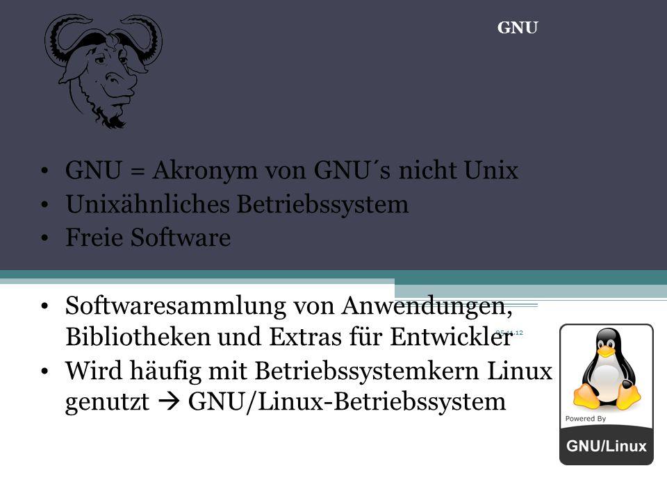 05.11.12 GNU = Akronym von GNU´s nicht Unix Unixähnliches Betriebssystem Freie Software Softwaresammlung von Anwendungen, Bibliotheken und Extras für Entwickler Wird häufig mit Betriebssystemkern Linux genutzt  GNU/Linux-Betriebssystem GNU