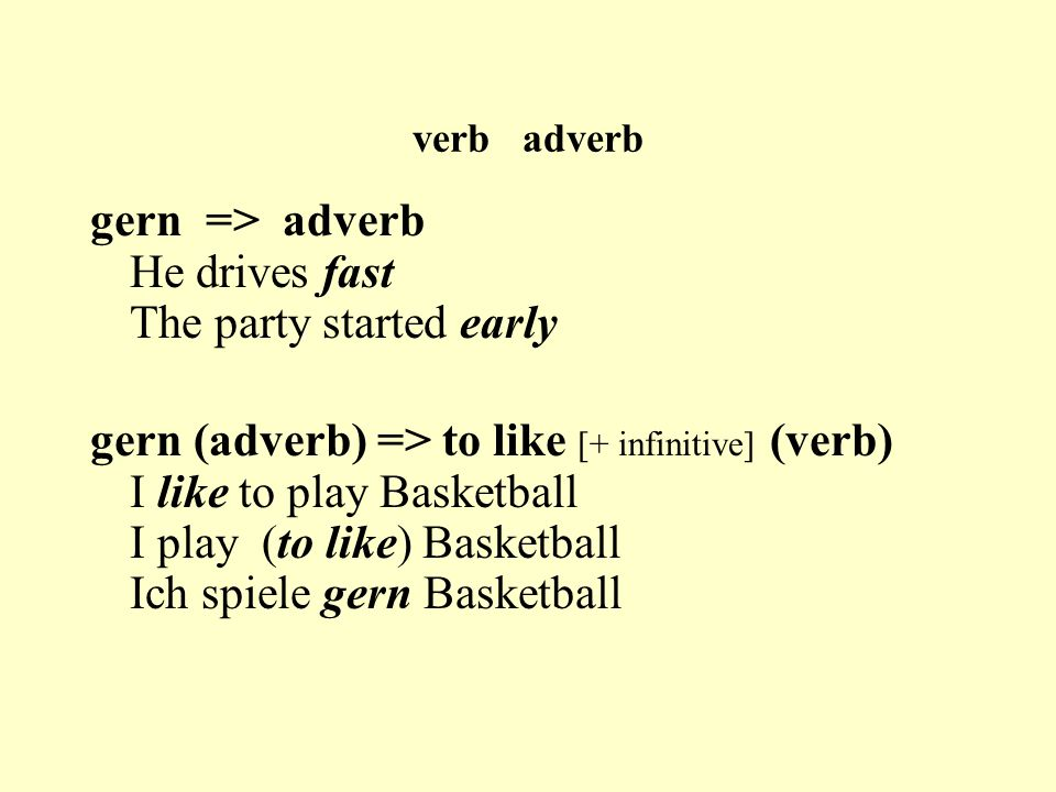 verb adverb gern => adverb He drives fast The party started early gern (adverb) => to like [+ infinitive] (verb) I like to play Basketball I play (to