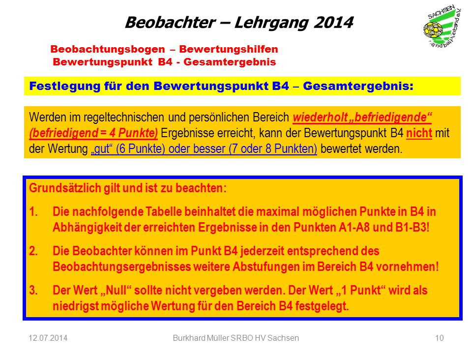 12.07.2014Burkhard Müller SRBO HV Sachsen10 Beobachtungsbogen – Bewertungshilfen Bewertungspunkt B4 - Gesamtergebnis Festlegung für den Bewertungspunk