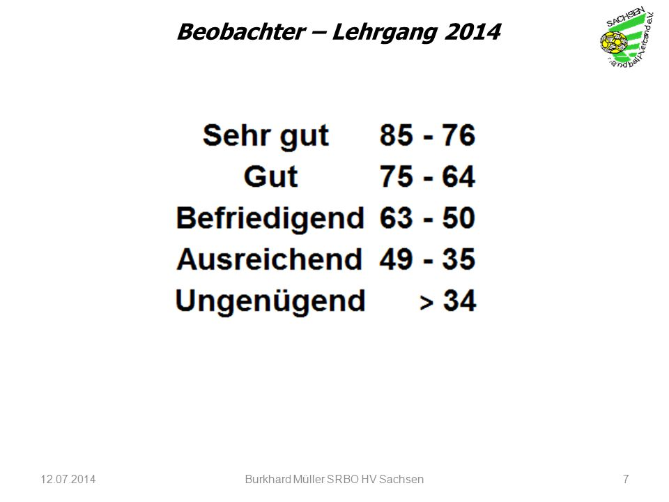 12.07.2014Burkhard Müller SRBO HV Sachsen7 Beobachter – Lehrgang 2014