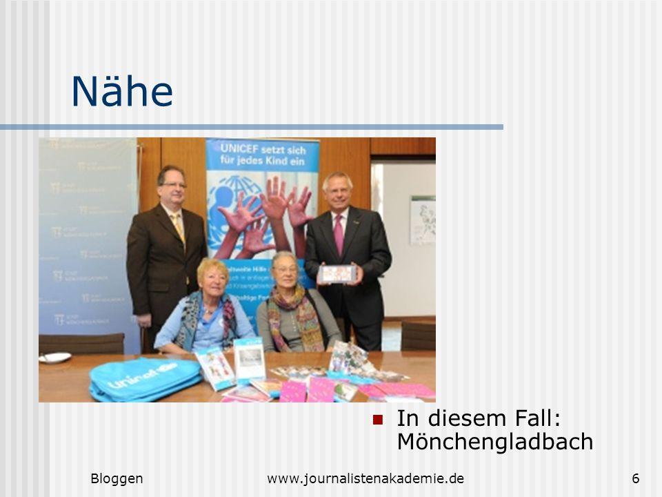 Bloggenwww.journalistenakademie.de6 Nähe In diesem Fall: Mönchengladbach