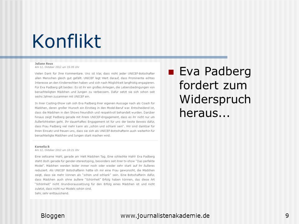 Bloggenwww.journalistenakademie.de9 Konflikt Eva Padberg fordert zum Widerspruch heraus...