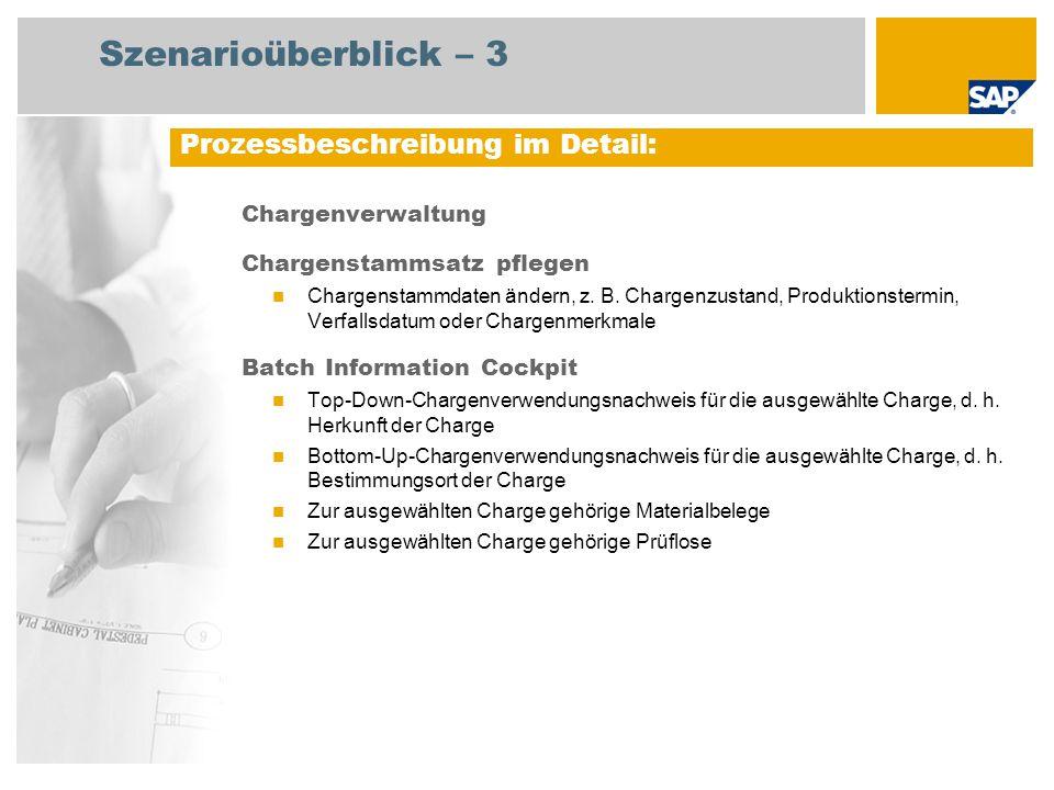 Ablaufdiagramm Chargenverwaltung Ereignis Chargenzustand, Produktionstermin, Verfallsdatum usw.