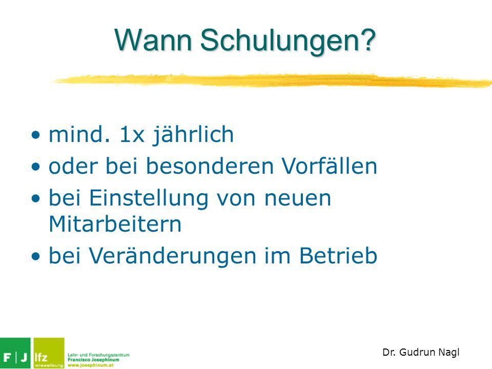 Wann Schulungen? mind. 1x jährlich oder bei besonderen Vorfällen bei Einstellung von neuen Mitarbeitern bei Veränderungen im Betrieb Dr. Gudrun Nagl