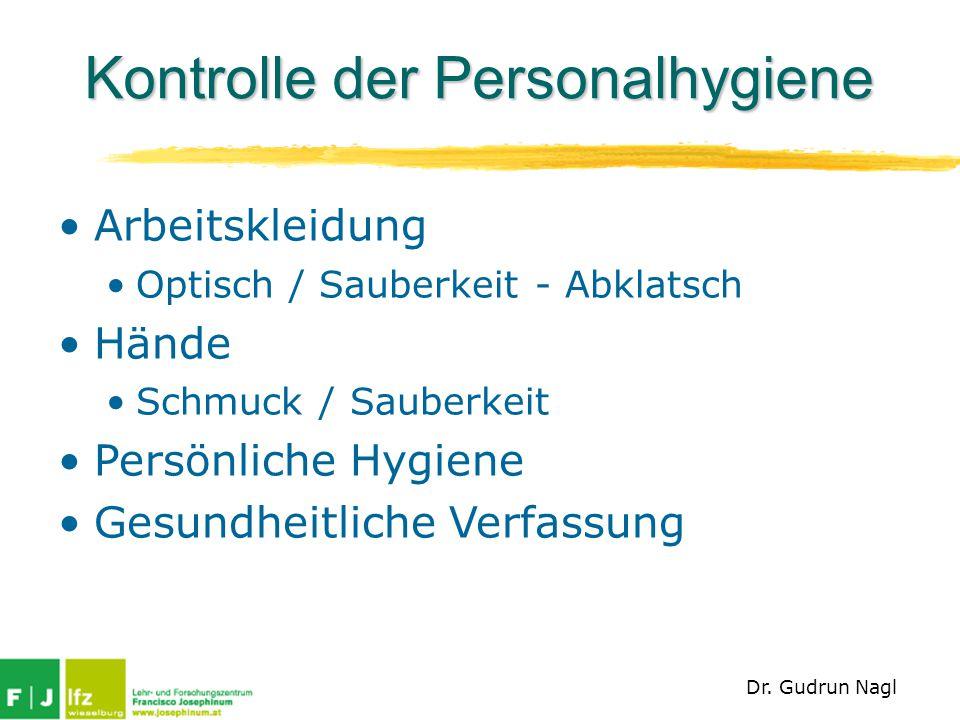 Kontrolle der Personalhygiene Arbeitskleidung Optisch / Sauberkeit - Abklatsch Hände Schmuck / Sauberkeit Persönliche Hygiene Gesundheitliche Verfassu