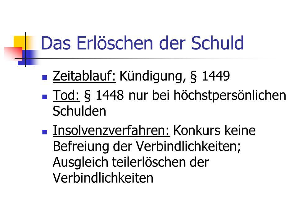 Das Erlöschen der Schuld Zeitablauf: Kündigung, § 1449 Tod: § 1448 nur bei höchstpersönlichen Schulden Insolvenzverfahren: Konkurs keine Befreiung der