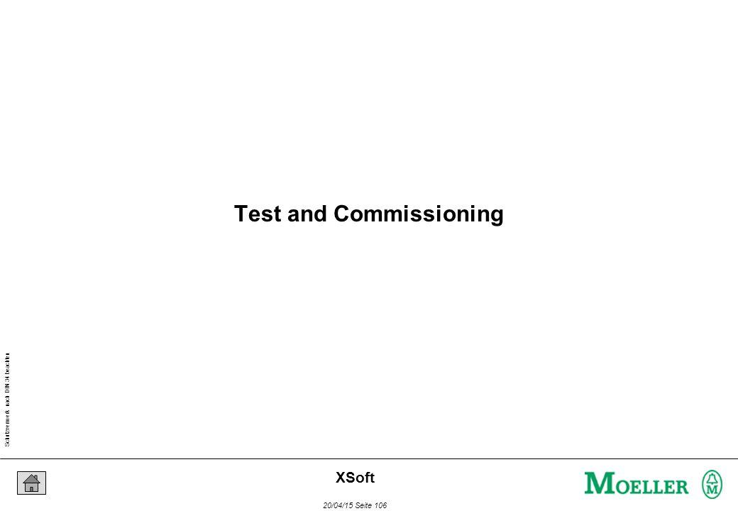 Schutzvermerk nach DIN 34 beachten 20/04/15 Seite 106 XSoft Test and Commissioning