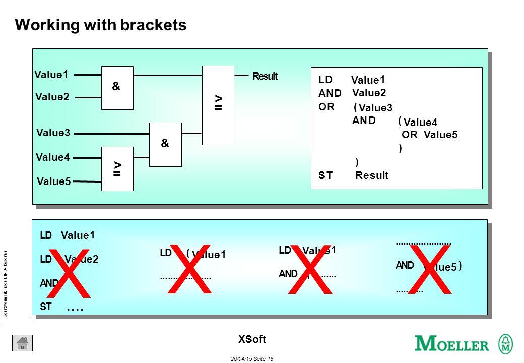Schutzvermerk nach DIN 34 beachten 20/04/15 Seite 18 XSoft & & > = > = Result LD AND OR ( AND ( OR ) ) ST Result LD (....................