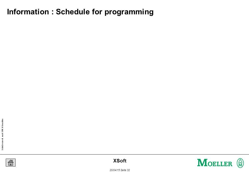 Schutzvermerk nach DIN 34 beachten 20/04/15 Seite 32 XSoft Information : Schedule for programming