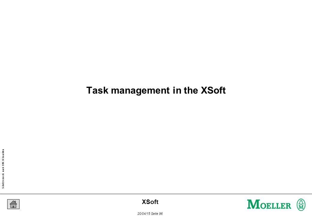 Schutzvermerk nach DIN 34 beachten 20/04/15 Seite 96 XSoft Task management in the XSoft