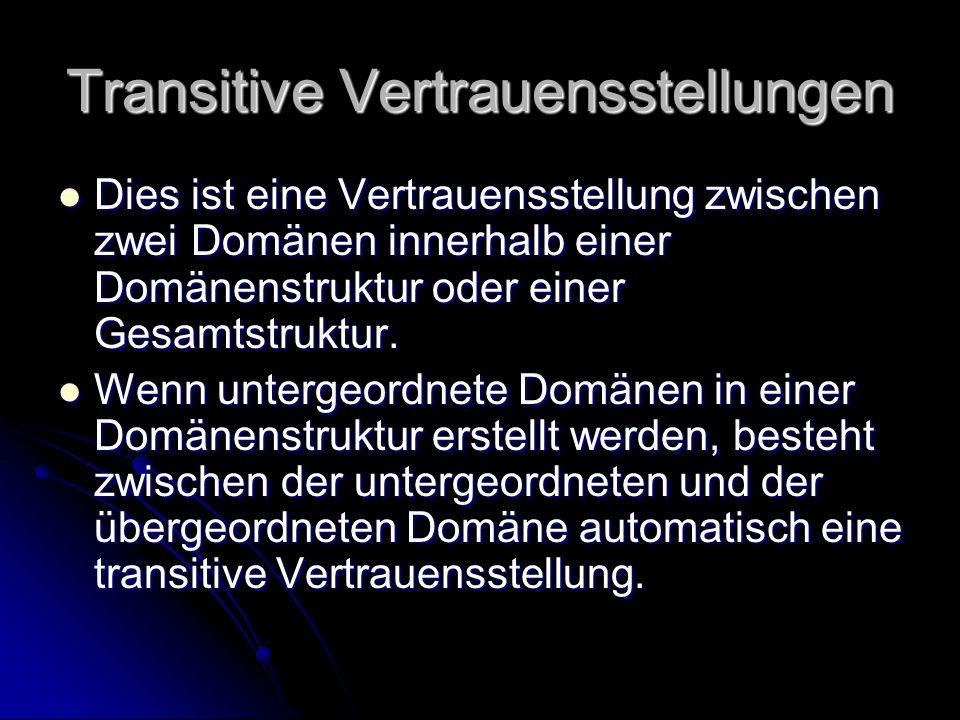 Transitive Vertrauensstellungen Dies ist eine Vertrauensstellung zwischen zwei Domänen innerhalb einer Domänenstruktur oder einer Gesamtstruktur. Dies