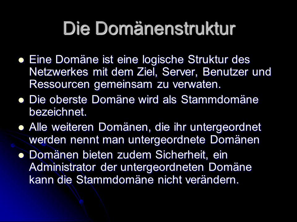 Die Domänenstruktur Eine Domäne ist eine logische Struktur des Netzwerkes mit dem Ziel, Server, Benutzer und Ressourcen gemeinsam zu verwaten. Eine Do