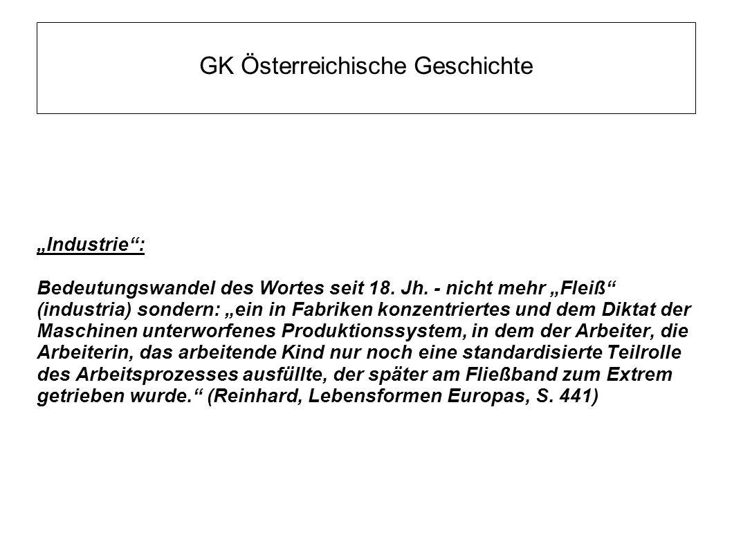 """GK Österreichische Geschichte """"Industrie : Bedeutungswandel des Wortes seit 18."""