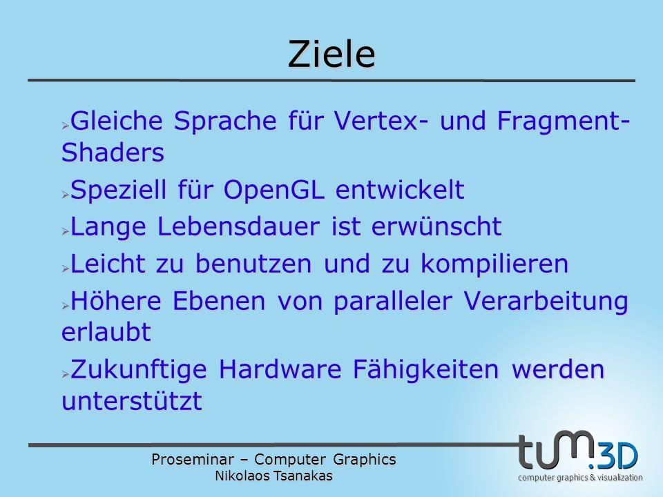 Proseminar – Computer Graphics Nikolaos Tsanakas computer graphics & visualization Ziele  Gleiche Sprache für Vertex- und Fragment- Shaders  Speziell für OpenGL entwickelt  Lange Lebensdauer ist erwünscht  Leicht zu benutzen und zu kompilieren  Höhere Ebenen von paralleler Verarbeitung erlaubt  Zukunftige Hardware Fähigkeiten werden unterstützt