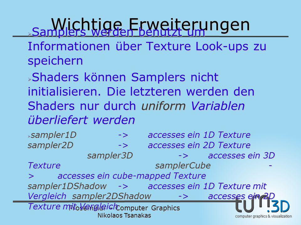 Proseminar – Computer Graphics Nikolaos Tsanakas computer graphics & visualization Wichtige Erweiterungen  Samplers werden benutzt um Informationen ü