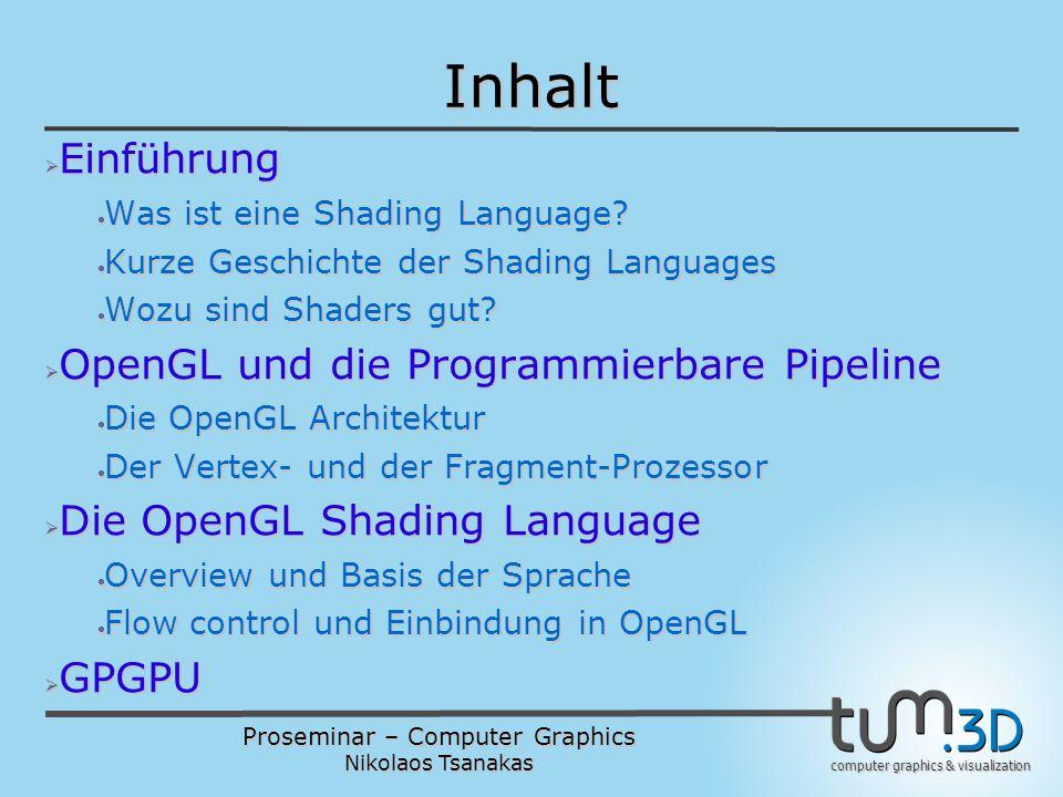 "Proseminar – Computer Graphics Nikolaos Tsanakas computer graphics & visualization Was ist eine ""Shading Language ."
