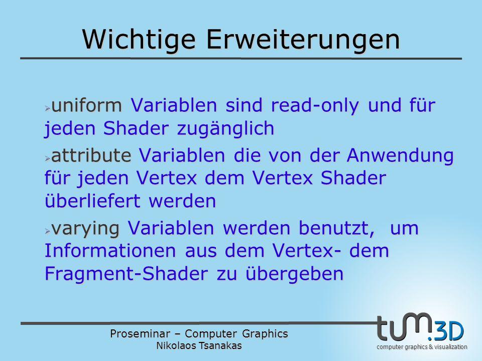 Proseminar – Computer Graphics Nikolaos Tsanakas computer graphics & visualization Wichtige Erweiterungen  uniform Variablen sind read-only und für jeden Shader zugänglich  attribute Variablen die von der Anwendung für jeden Vertex dem Vertex Shader überliefert werden  varying Variablen werden benutzt, um Informationen aus dem Vertex- dem Fragment-Shader zu übergeben